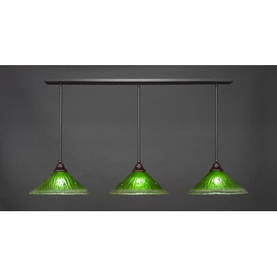 3-Light Kitchen Island Pendant Base Finish: Dark Granite, Shade Color: Kiwi Green