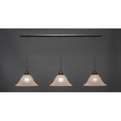 3-Light Kitchen Island Pendant Shade Color: Italian, Base Finish: Dark Granite