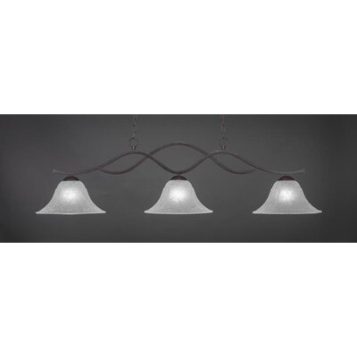 Revo 3-Light Kitchen Island Pendant Shade Color: White, Base Finish: Dark Granite