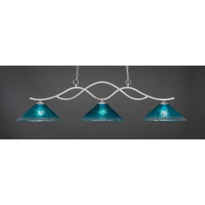 Revo 3-Light Billiard Pendant Base Finish: Aged Silver, Shade Color: Teal