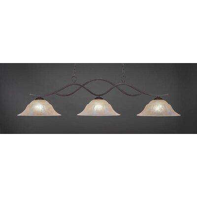 Revo 3-Light Billiard Pendant Shade Color: Amber, Base Finish: Dark Granite