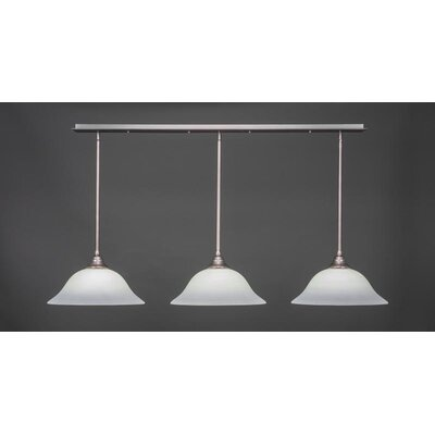 3-Light Kitchen Island Pendant Base Finish: Brushed Nickel, Shade Color: Gary