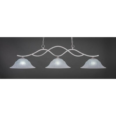 Revo 3-Light Billiard Pendant Base Finish: Aged Silver, Shade Color: White