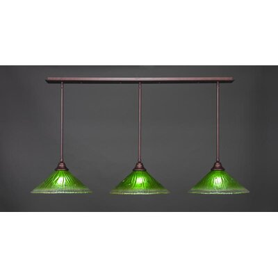 3-Light Kitchen Island Pendant Base Finish: Bronze, Shade Color: Kiwi Green