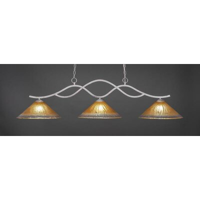 Revo 3-Light Kitchen Island Pendant Base Finish: Aged Silver