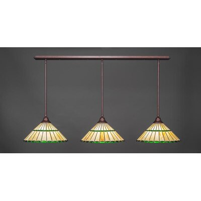 3-Light Kitchen Island Pendant Base Finish: Bronze, Shade Color: Green
