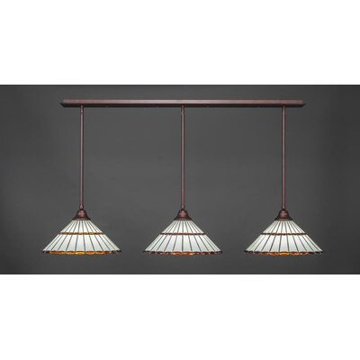 3-Light Kitchen Island Pendant Shade Color: Amber Brown, Base Finish: Bronze