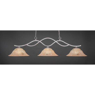 Revo 3-Light Billiard Pendant Base Finish: Aged Silver, Shade Color: Italian