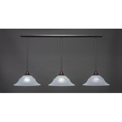 3-Light Kitchen Island Pendant Base Finish: Dark Granite, Shade Color: White