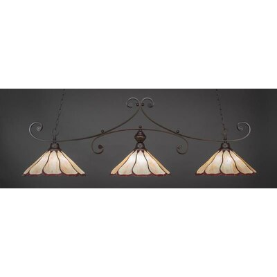 Marylin 3-Light Billiard Pendant Shade Color: Honey Burgundy