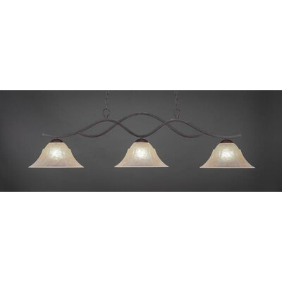 Revo 3-Light Kitchen Island Pendant Shade Color: Amber, Base Finish: Dark Granite