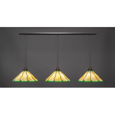 3-Light Kitchen Island Pendant Base Finish: Dark Granite, Shade Color: Honey Green