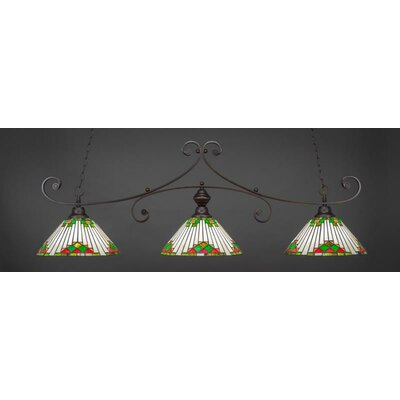 Copeland 3-Light Billiard Pendant Shade Color: Green, Base Finish: Dark Granite