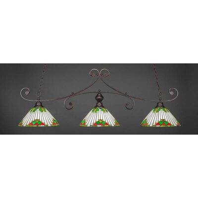 Copeland 3-Light Billiard Pendant Base Finish: Bronze, Shade Color: Green
