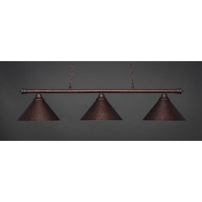 Passabe 3-Light Cone Metal Shade Billiard Pendant Base Finish: Bronze