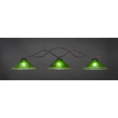 Revo 3-Light Billiard Pendant Shade Color: Kiwi Green, Base Finish: Dark Granite