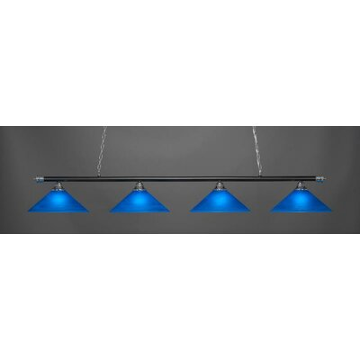 Passabe 4-Light 150W Glass Shade Billiard Pendant Base Finish: Chrome/Matte Black