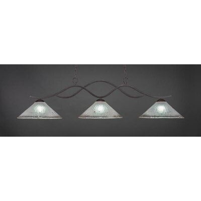 Revo 3-Light Billiard Pendant Base Finish: Dark Granite, Shade Color: Frosted