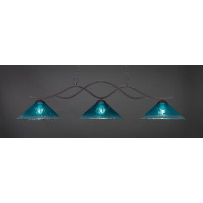 Revo 3-Light Billiard Pendant Base Finish: Dark Granite, Shade Color: Teal