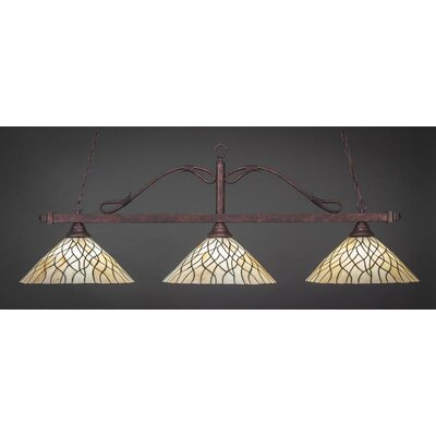 Scroll 3-Light Billiard Island Pendant