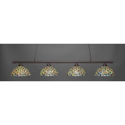Passabe 4-Light Crescent Tiffany Glass Shade Billiard Pendant Base Finish: Dark Granite