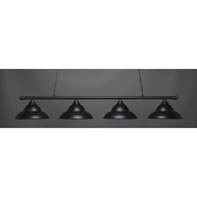 Passabe 4-Light Bell Shade Billiard Pendant Base Finish: Matte Black