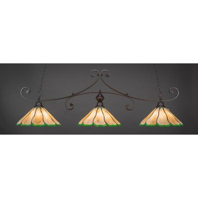 Marylin 3-Light Billiard Pendant Shade Color: Honey/Hunter Green