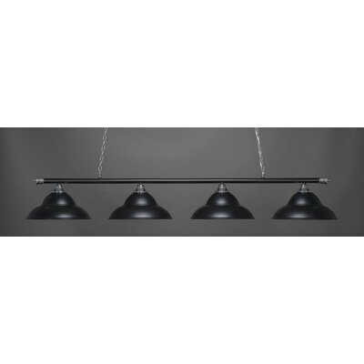 Passabe 4-Light Bell Shade Billiard Pendant Base Finish: Chrome/Matte Black