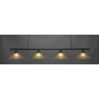 Oxford 4-Light Billiard Pendant Base Finish: Matte Black, Shade Color: Amber
