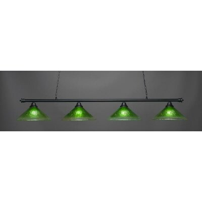 Oxford 4-Light Billiard Pendant Base Finish: Matte Black, Shade Color: Kiwi Green