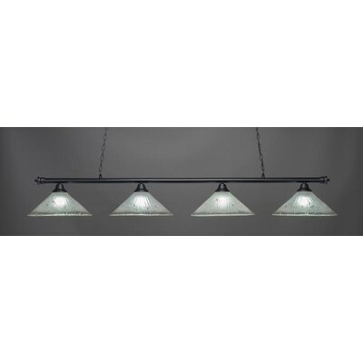 Oxford 4-Light Billiard Pendant Base Finish: Matte Black, Shade Color: Frosted