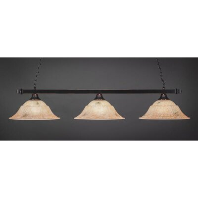 3-Light Billiard Pendant Base Finish: Black Copper, Shade Color: Italian