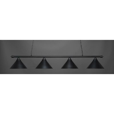 Oxford 4-Light Billiard Pendant Base Finish: Matte Black, Shade Color: Matte Black