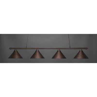 Oxford 4-Light Billiard Pendant Base Finish: Bronze, Shade Color: Brushed Nickel