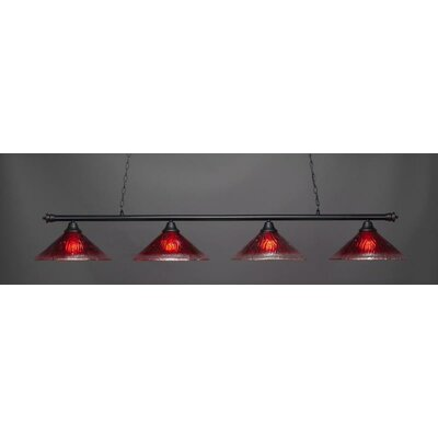Oxford 4-Light Billiard Pendant Base Finish: Matte Black, Shade Color: Raspberry