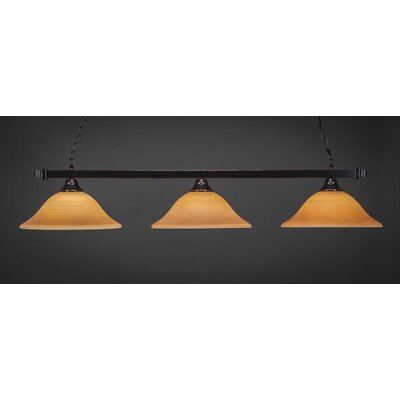 3-Light Kitchen Island Pendant Base Finish: Black Copper, Shade Color: Cayenne