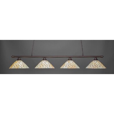 Passabe 4-Light Tiffany Glass Shade Billiard Pendant Base Finish: Dark Granite