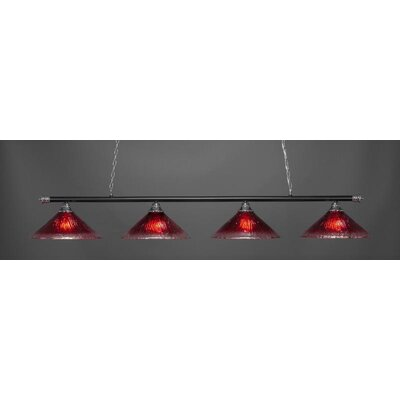 Oxford 4-Light Billiard Pendant Base Finish: Chrome/Matte Black, Shade Color: Raspberry