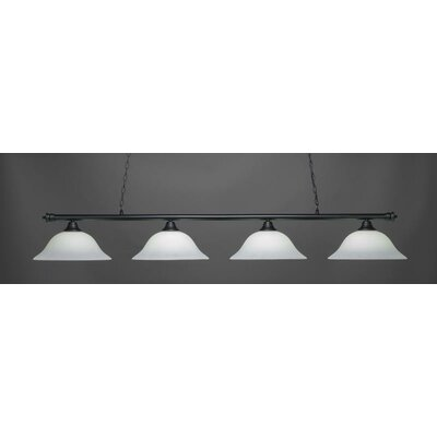Oxford 4-Light Billiard Pendant Shade Color: White, Base Finish: Matte Black