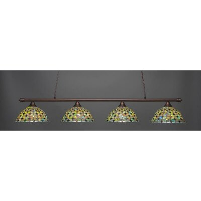 Passabe 4-Light Crescent Tiffany Glass Shade Billiard Pendant Base Finish: Bronze