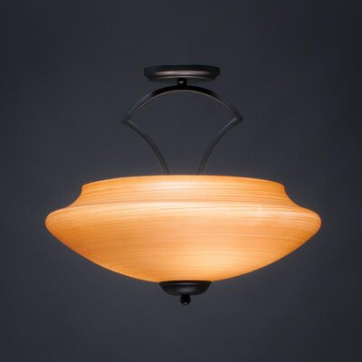 Zilo 3-Light Semi Flush Mount Shade Color: Cayenne, Finish: Matte Black