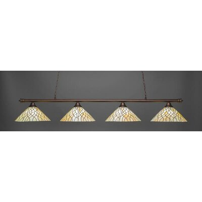 Passabe 4-Light Tiffany Glass Shade Billiard Pendant Base Finish: Bronze