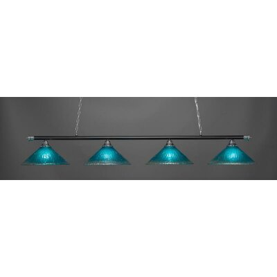 Oxford 4-Light Billiard Pendant Base Finish: Chrome/Matte Black, Shade Color: Teal