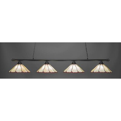 Passabe Tiffany 4-Light Billiard Pendant Shade Color: Honey Burgundy