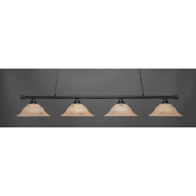 Passabe 4-Light Bowl Shade Billiard Pendant Shade Color: Italian