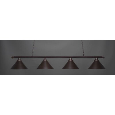 Oxford 4-Light Billiard Pendant Base Finish: Dark Granite, Shade Color: Dark Granite