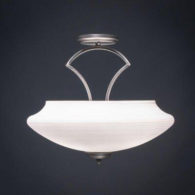 Zilo 3-Light Semi Flush Mount Shade Color: White, Finish: Graphite