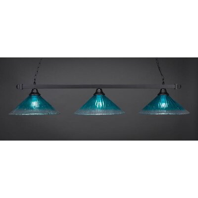 3-Light Billiard Pendant Base Finish: Matte Black, Shade Color: Teal