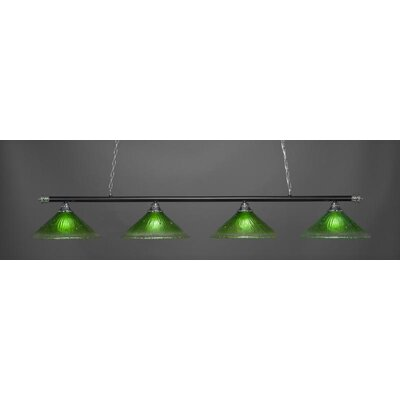 Oxford 4-Light Billiard Pendant Base Finish: Chrome/Matte Black, Shade Color: Kiwi Green