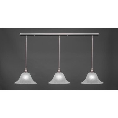 3-Light Kitchen Island Pendant Base Finish: Brushed Nickel, Shade Color: White